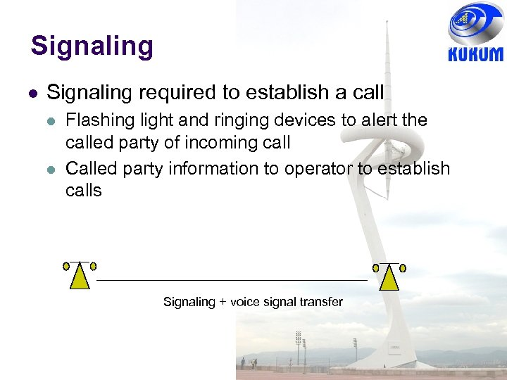 Signaling l Signaling required to establish a call l l Flashing light and ringing