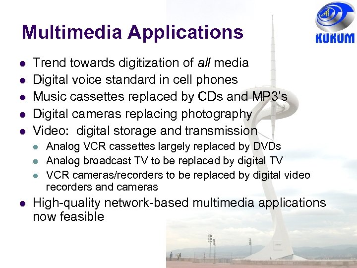 Multimedia Applications l l l Trend towards digitization of all media Digital voice standard