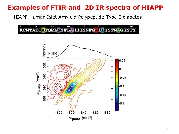 Examples of FTIR and 2 D IR spectra of HIAPP-Human Islet Amyloid Polypeptide-Type 2
