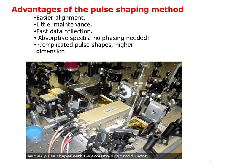 Advantages of the pulse shaping method • Easier alignment. • Little maintenance. • Fast