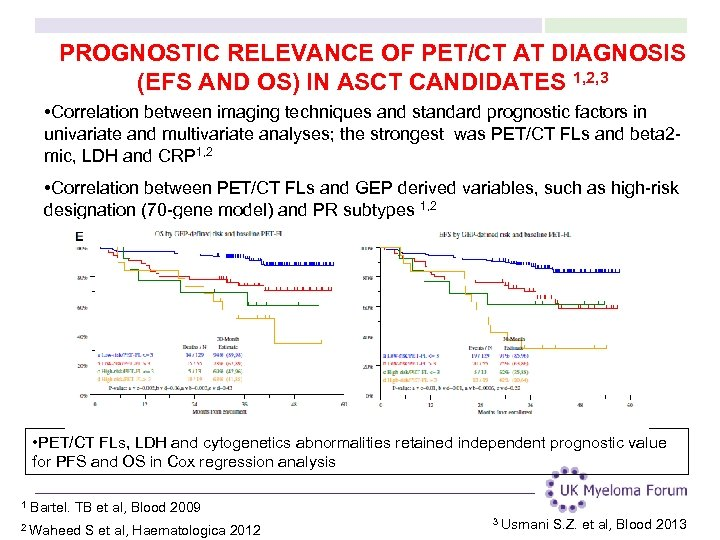 PROGNOSTIC RELEVANCE OF PET/CT AT DIAGNOSIS (EFS AND OS) IN ASCT CANDIDATES 1, 2,