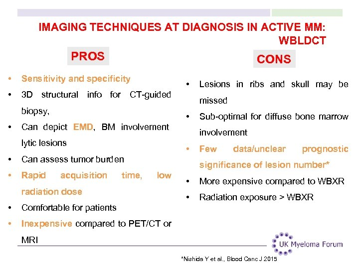 IMAGING TECHNIQUES AT DIAGNOSIS IN ACTIVE MM: WBLDCT PROS CONS • Sensitivity and specificity