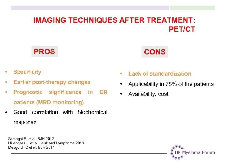 IMAGING TECHNIQUES AFTER TREATMENT: PET/CT PROS CONS • Specificity • Lack of standardization •