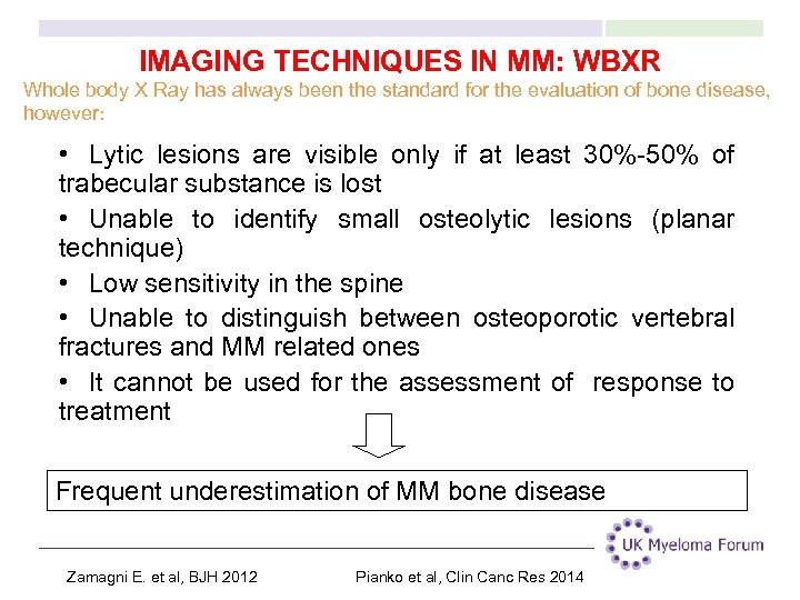 IMAGING TECHNIQUES IN MM: WBXR Whole body X Ray has always been the standard