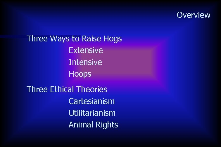 Overview Three Ways to Raise Hogs Extensive Intensive Hoops Three Ethical Theories Cartesianism Utilitarianism