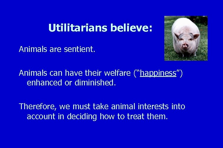 "Utilitarians believe: Animals are sentient. Animals can have their welfare (""happiness"") enhanced or diminished."