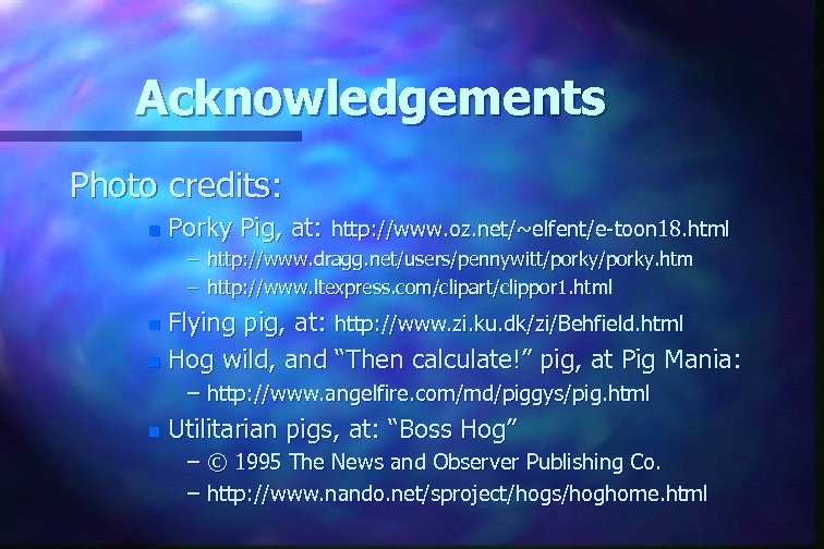 Acknowledgements Photo credits: n Porky Pig, at: http: //www. oz. net/~elfent/e-toon 18. html –