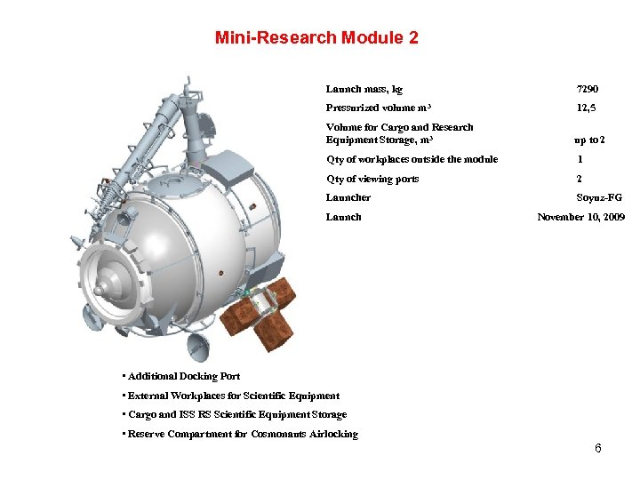 Mini-Research Module 2 Launch mass, kg 7290 Pressurized volume m 3 12, 5 Volume