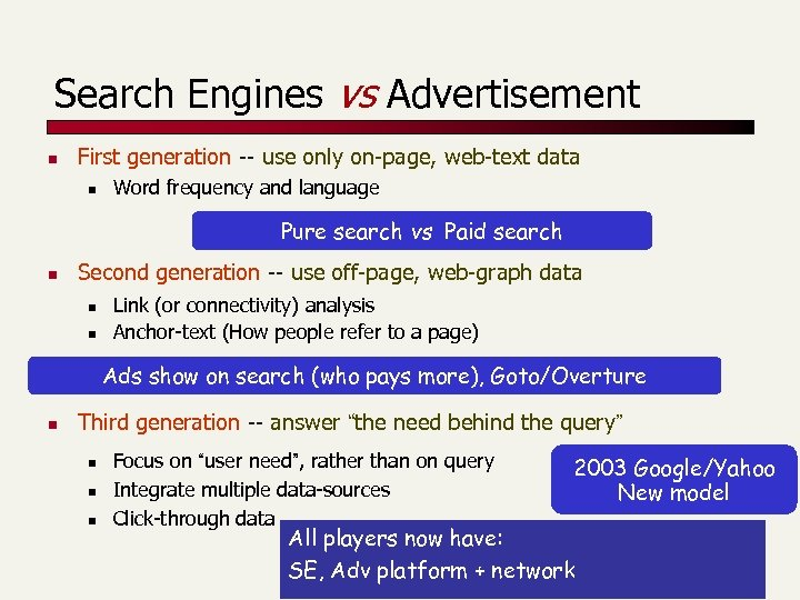 Search Engines vs Advertisement n First generation -- use only on-page, web-text data n