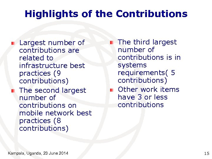 Highlights of the Contributions Largest number of contributions are related to infrastructure best practices