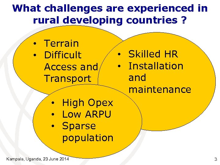 What challenges are experienced in rural developing countries ? • Terrain • Difficult Access