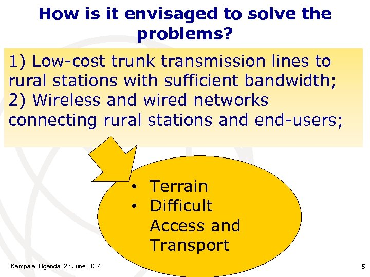 How is it envisaged to solve the problems? 1) Low-cost trunk transmission lines to