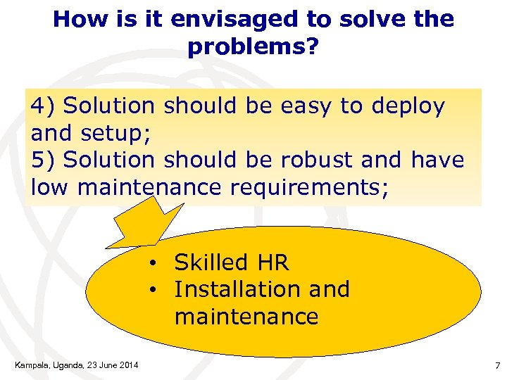 How is it envisaged to solve the problems? 4) Solution should be easy to