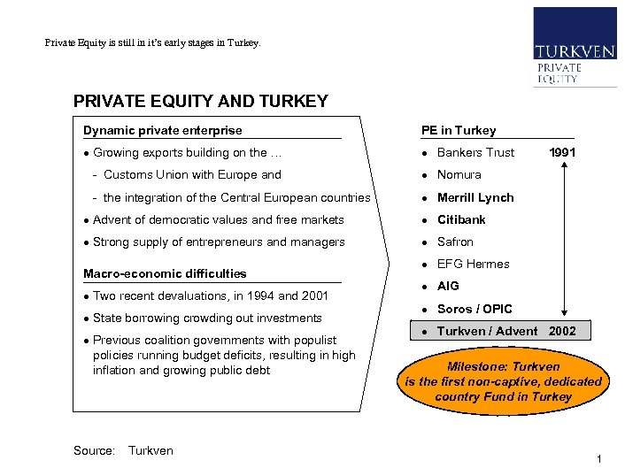 Private Equity in Turkey 5 th International Venture