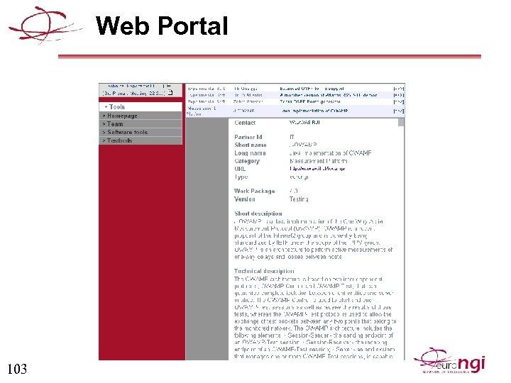 Web Portal 103