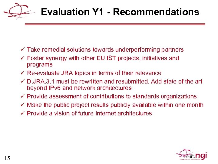 Evaluation Y 1 - Recommendations ü Take remedial solutions towards underperforming partners ü Foster