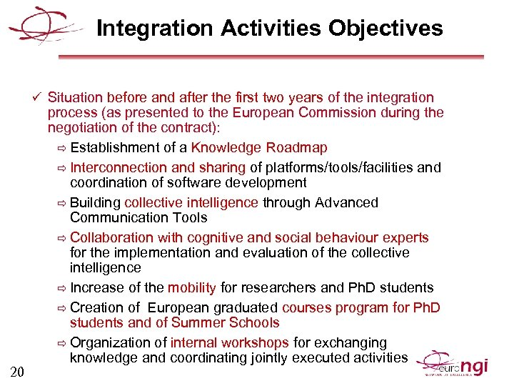 Integration Activities Objectives ü Situation before and after the first two years of the