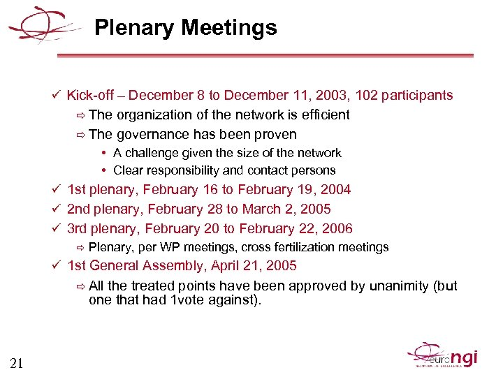 Plenary Meetings ü Kick-off – December 8 to December 11, 2003, 102 participants ð
