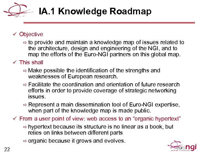 IA. 1 Knowledge Roadmap ü Objective ð to provide and maintain a knowledge map
