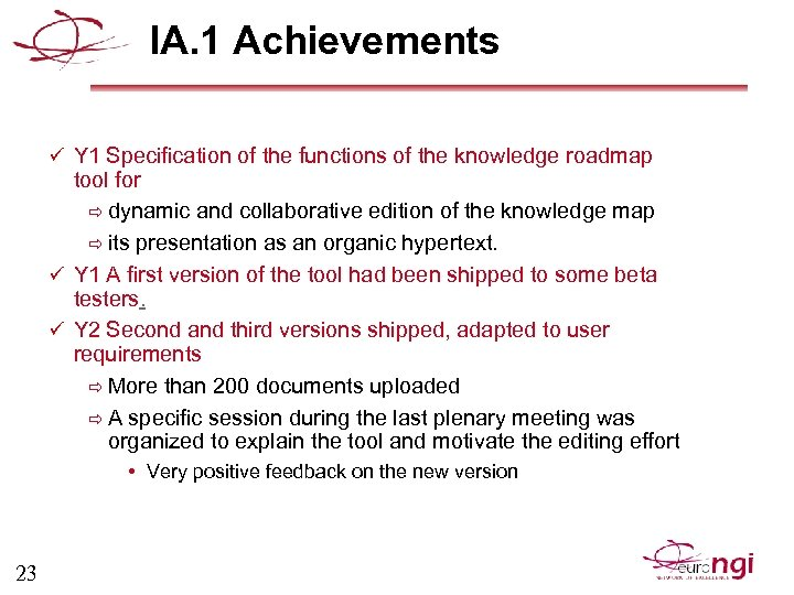 IA. 1 Achievements ü Y 1 Specification of the functions of the knowledge roadmap