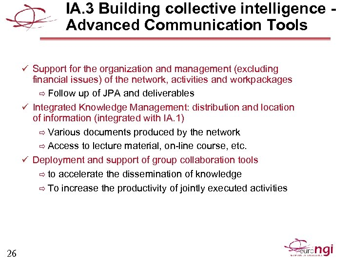 IA. 3 Building collective intelligence Advanced Communication Tools ü Support for the organization and