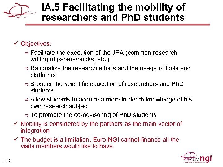 IA. 5 Facilitating the mobility of researchers and Ph. D students ü Objectives: ð
