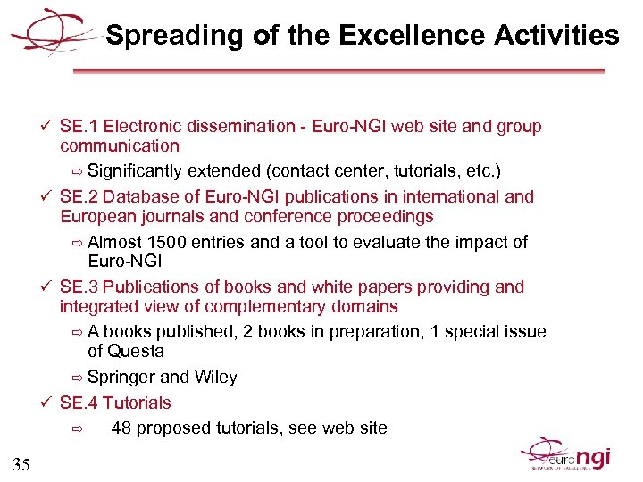 Spreading of the Excellence Activities ü SE. 1 Electronic dissemination - Euro-NGI web site