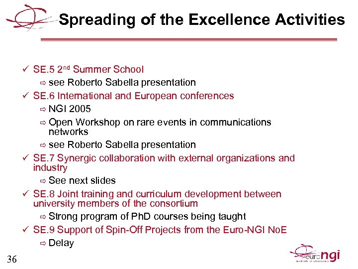 Spreading of the Excellence Activities ü SE. 5 2 nd Summer School ð see
