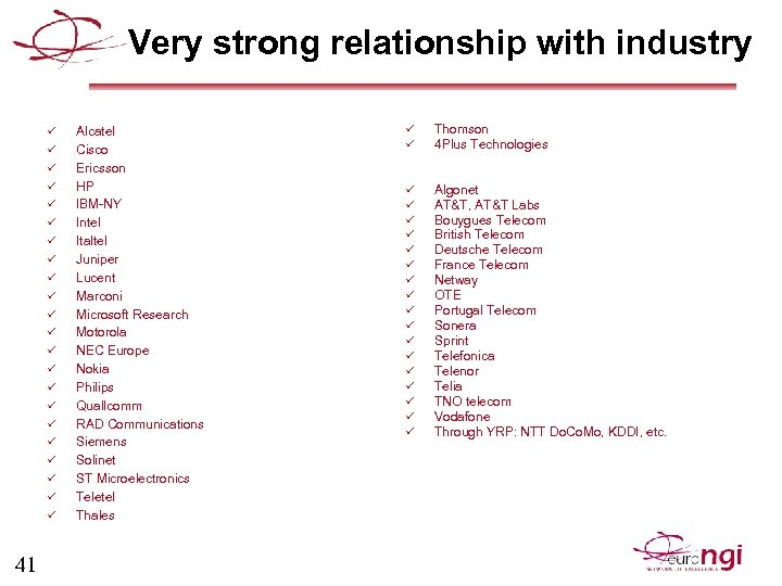 Very strong relationship with industry ü ü ü ü ü ü 41 Alcatel Cisco