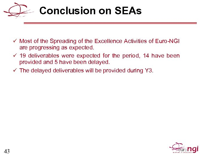 Conclusion on SEAs ü Most of the Spreading of the Excellence Activities of Euro-NGI