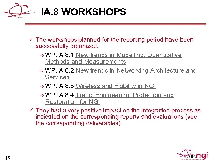 IA. 8 WORKSHOPS ü The workshops planned for the reporting period have been successfully