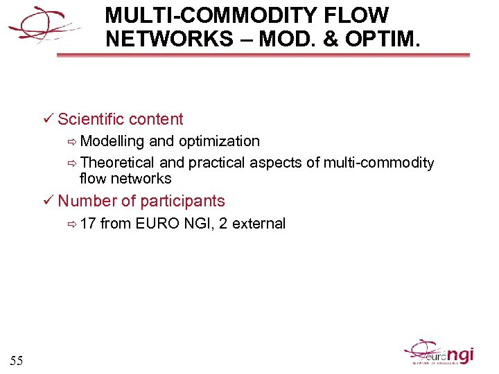 MULTI-COMMODITY FLOW NETWORKS – MOD. & OPTIM. ü Scientific content ð Modelling and optimization
