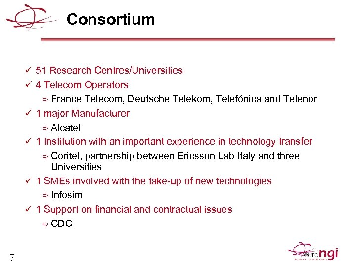 Consortium ü 51 Research Centres/Universities ü 4 Telecom Operators ð France Telecom, Deutsche Telekom,