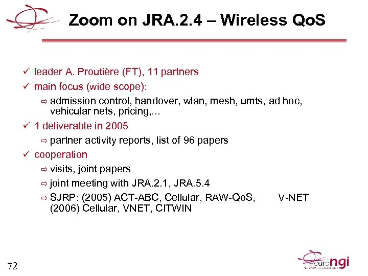 Zoom on JRA. 2. 4 – Wireless Qo. S ü leader A. Proutière (FT),