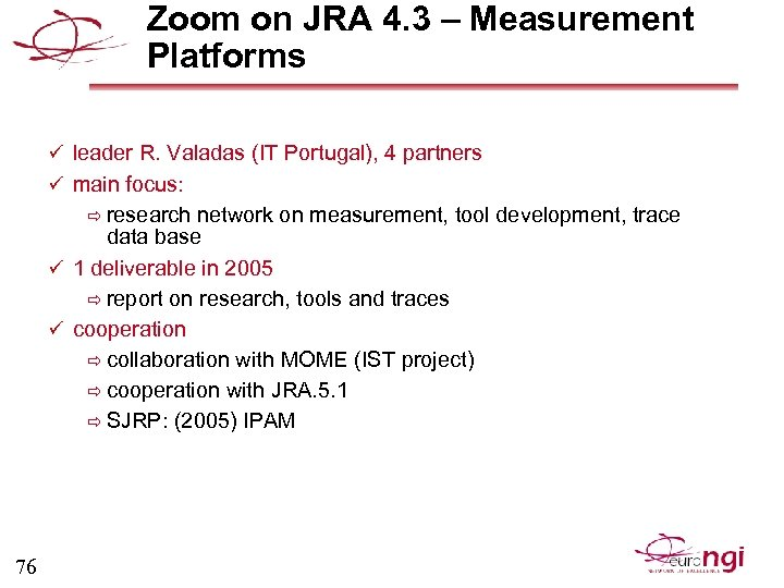 Zoom on JRA 4. 3 – Measurement Platforms ü leader R. Valadas (IT Portugal),