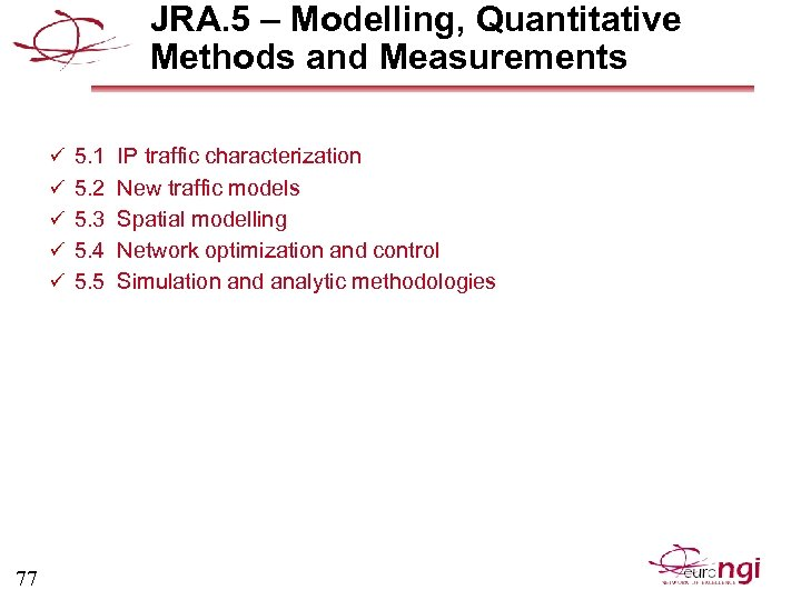 JRA. 5 – Modelling, Quantitative Methods and Measurements ü 5. 1 IP traffic characterization