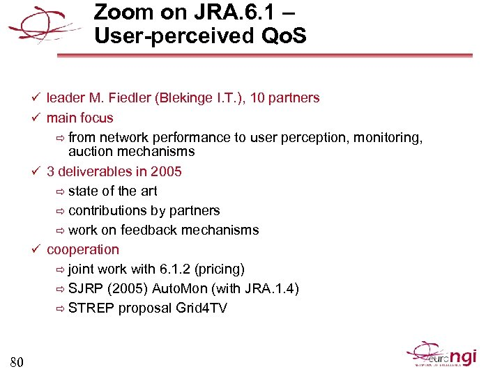 Zoom on JRA. 6. 1 – User-perceived Qo. S ü leader M. Fiedler (Blekinge