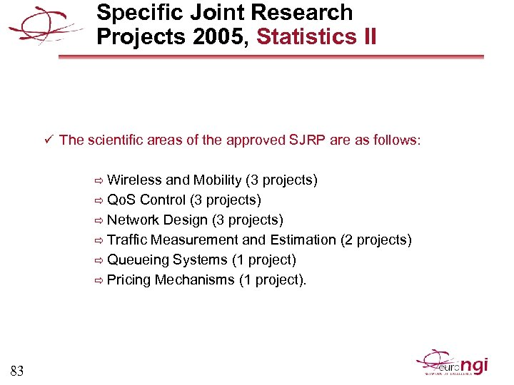 Specific Joint Research Projects 2005, Statistics II ü The scientific areas of the approved