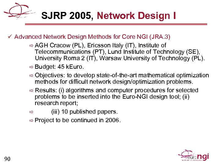 SJRP 2005, Network Design I ü Advanced Network Design Methods for Core NGI (JRA.