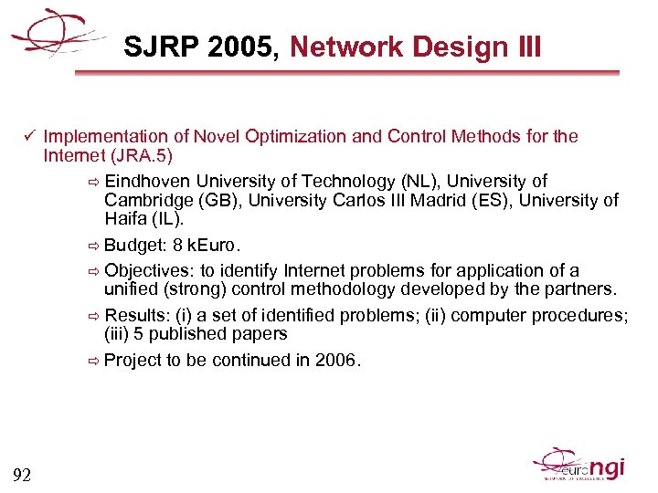 SJRP 2005, Network Design III ü Implementation of Novel Optimization and Control Methods for