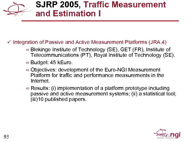 SJRP 2005, Traffic Measurement and Estimation I ü Integration of Passive and Active Measurement