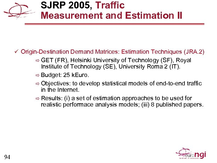 SJRP 2005, Traffic Measurement and Estimation II ü Origin-Destination Demand Matrices: Estimation Techniques (JRA.