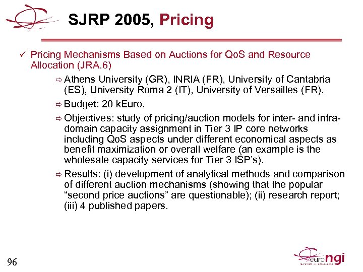 SJRP 2005, Pricing ü Pricing Mechanisms Based on Auctions for Qo. S and Resource