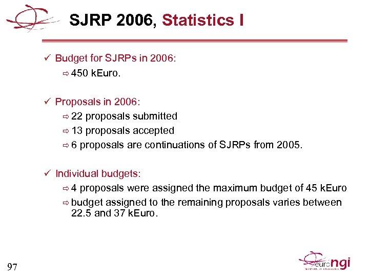 SJRP 2006, Statistics I ü Budget for SJRPs in 2006: ð 450 k. Euro.