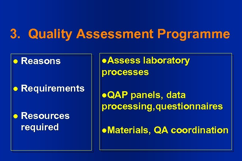 3. Quality Assessment Programme l Reasons l Requirements l Resources required l. Assess laboratory