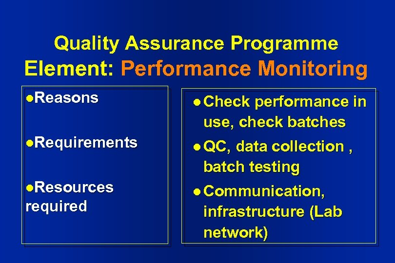 Quality Assurance Programme Element: Performance Monitoring l. Reasons l Check l. Requirements l QC,