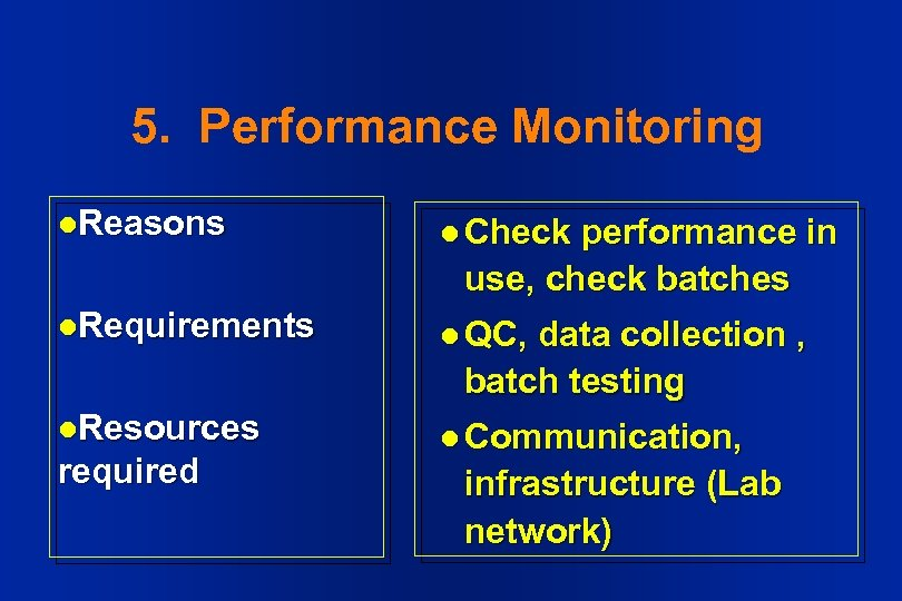 5. Performance Monitoring l. Reasons l Check l. Requirements l QC, l. Resources l