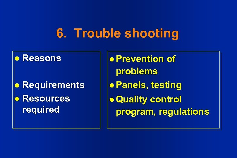 6. Trouble shooting l Reasons Requirements l Resources required l l Prevention of problems