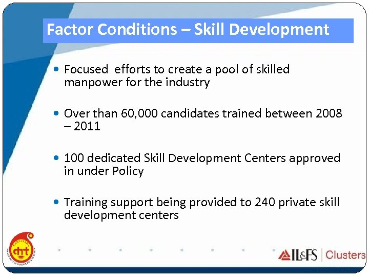 Factor Conditions – Skill Development Focused efforts to create a pool of skilled manpower
