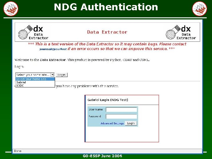 NDG Authentication Offering up trusted host list … GO-ESSP June 2006